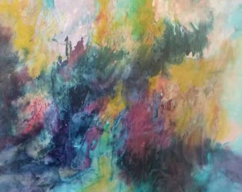 Original silk painting by Michele Morgan,one-of-a-kind,abstract landscape,abstract art, modern art, contemporary abstracts,art collectors