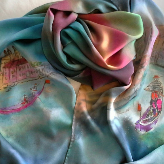 Hand Painted silk pareo, wrap,Venice, Italy,Gondolas,womens silk shawl,silk scarves for women,art to wear gifts of Italy,teal green, purple