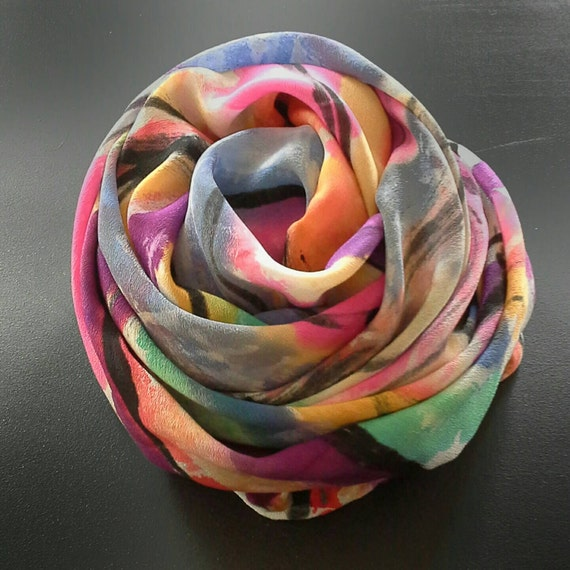 One-of-a-kind, Hand Painted Silk Scarf,Wild abstract art on silk,scarves and wraps for women, pink, gold, purple, gifts for her,accessories