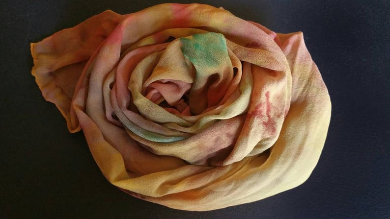Earth tones on a silk shawl wraphand paintedone of a kind image 0