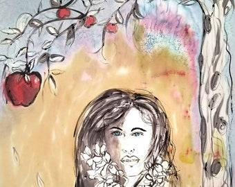 Eve ate the Apple,original art on silk painting,one of a kind,female art, figurative art,Adam and Eve,michelemorganart,peach,apple