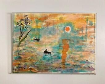 Original handpainted silk of Claude Monet Sunrise, landscape, impressionism,one of a kind