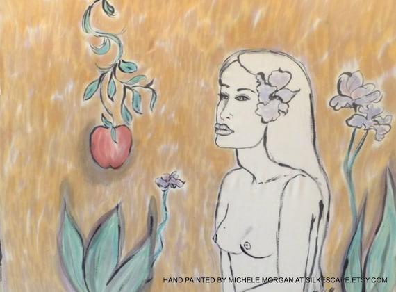 Hand Painted Silk Art,Fiber Art, One of a Kind Silk, Wall Hangings, Paul Gauguin, Eve and the Apple, Michele Morgan Art.com,