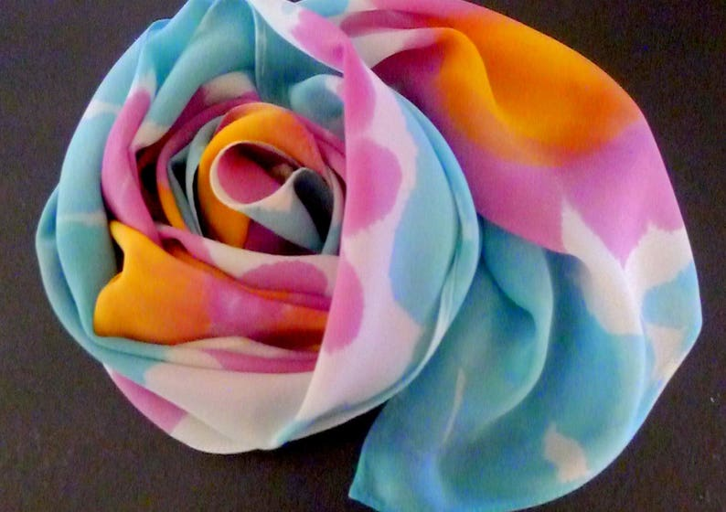 MADE TO ORDER Hand Painted Silk Scarf Spring image 0