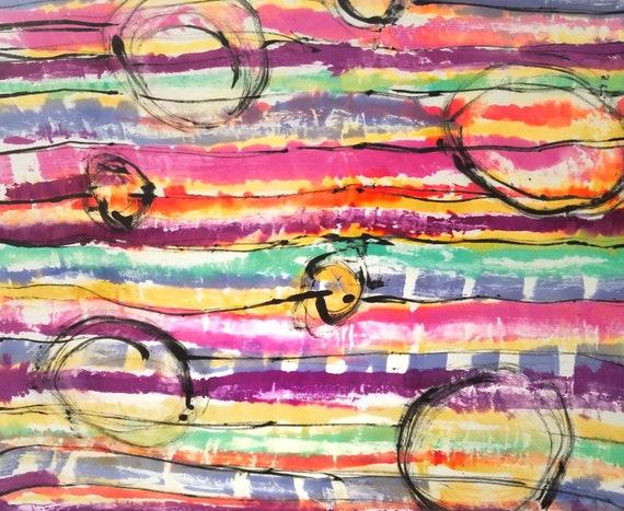 Pink Abstract Art on Silk, Original Art, Hand Painted Silk, One of a Kind Silk, Home Decor art, Contemporary Art