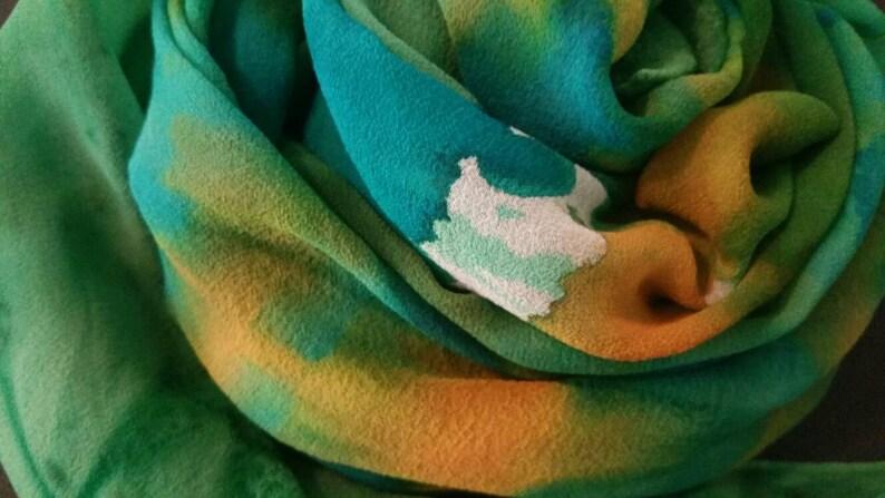 MADE TO ORDER Teal green handpainted silk shawlart on chiffon image 0