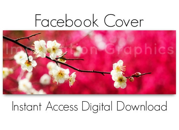Facebook Cover Digital Download White Spring Flowers Instant Etsy