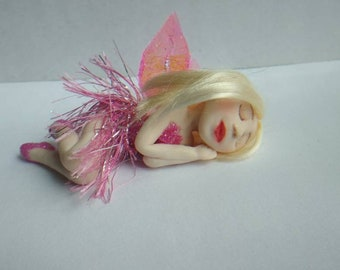 Beautiful OOAK fairy, sleeping blonde fairy