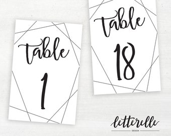 Geometric Lines Table Numbers