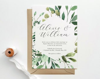 Greenery Wedding Invitation | Modern Wedding Invitation | Botanical Wedding Invitation