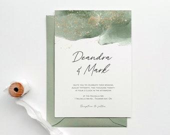 Watercolor Wedding Invitation | Modern Wedding Invitation | Calligraphy Wedding Invitation