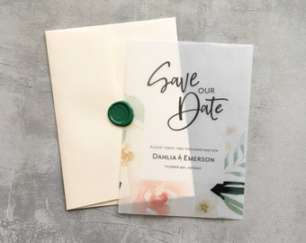 Vellum Save the Date | Floral Save the Date | Modern Save the Date