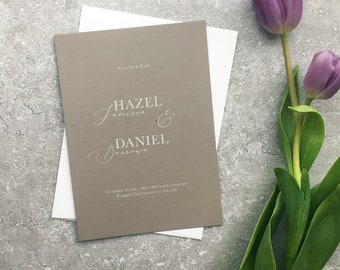 Hazel White Ink Save The Date