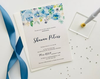 Blue and Greenery Floral Bridal Shower Invitation