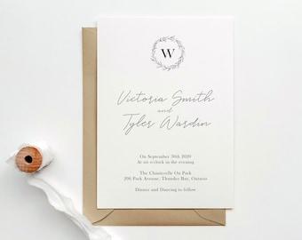 Monogram Wedding Invitation | Modern Wedding Invitation | Calligraphy Wedding Invitation