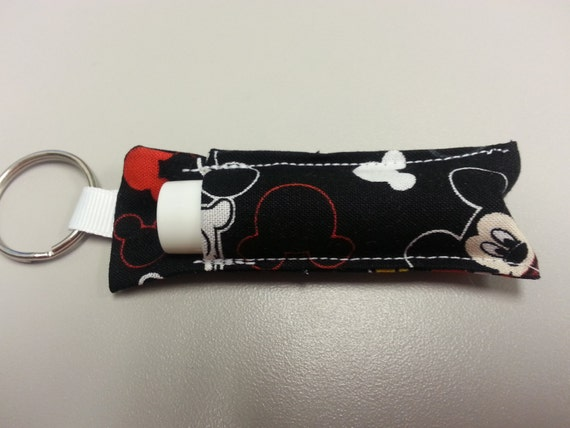 Handmade Key Ring Lip Balm Holder in Mickey Mouse Patterns
