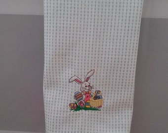 Easter/bunny rabbit/tea towel/Embroiderd/eggs