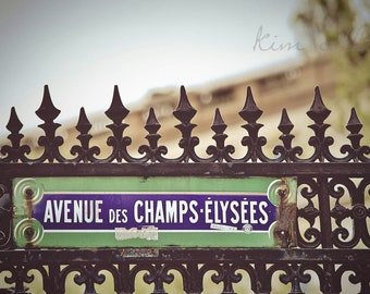 Champs de Elysees-Fine Art Photography,Paris,France,multiple sizes available, Architecture,Landscape,Street Sign,Parisian Fence