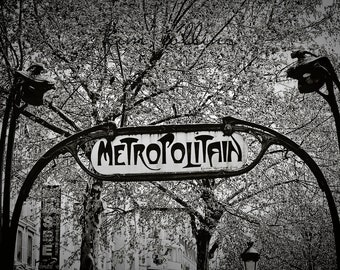 Parisian Metro Sign,Fine Art Photography-Paris,France,multiple sizes available,Architecture,Travel,Black&White,Subway,Hector Guimard