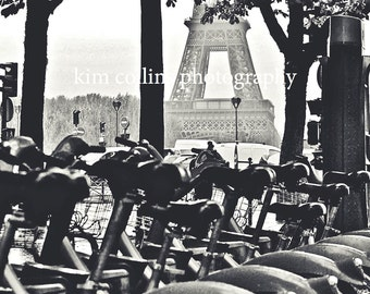 Eiffel and Bicycles-Paris France,Fine Art Photography,multiple sizes available-landscape-Bicycles-Parisian-photo-black and white