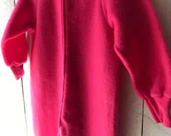 NOS Vintage Dr Denton Bright Pink Fleece Blanket Sleeper Size 5 Onsie  Pajamas e59c57176