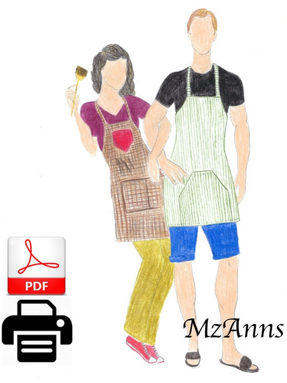Apron Sewing Pattern One Size Fits all Men\'s Apron | Etsy