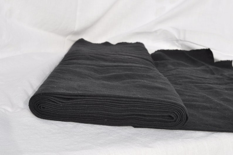 Linen Fabric Flax  linen by the  Metre Rustic Black 7.1 oz