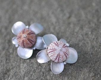 SALE -- Mismatched Pink Sea Urchin Petal Stud Earrings