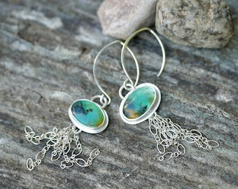 Swimming Free  --  A Pair of Jellyfish Peruvian Opal Dangle Earrings in Fine and Sterling Silver
