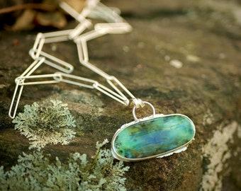 Ocean Speak -- A Dendritic Peruvian Opal Pendant in Sterling Silver