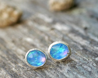 Windows to the Soul -- An Artisan Mis-Matched Pair of Aurora Opal Stud Earrings in Fine and Sterling Silver