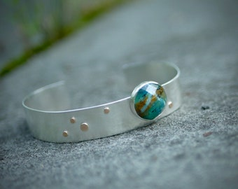 This Little Galaxy of Mine -- A Peruvian Opal Sterling Cuff With 14kt Gold Accents