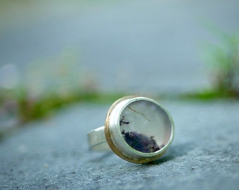 What We Sea -- An Artisan Moss Agate Underwater Scene in Sterling and Gold -- Size 6