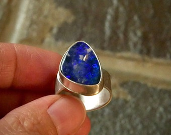 Midnight's Cobalt -- An Australian Opal Chunky Ring in Sterling -- Size 7 1/4