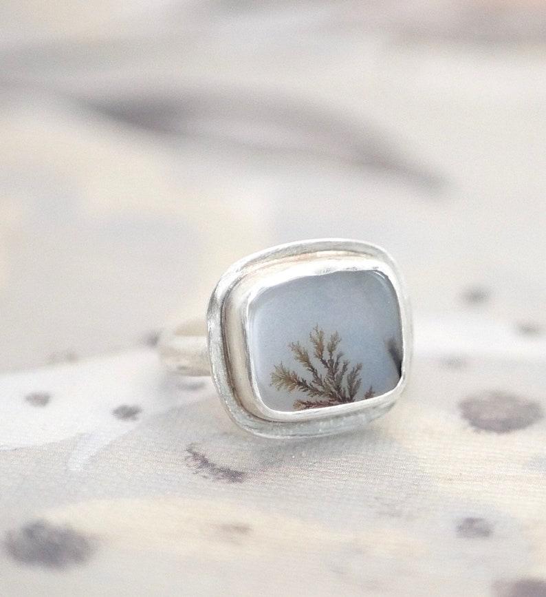 Size 6 Windowpane view \u2014 A Dendritic Agate Ring