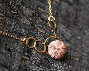 Modern Pink Sea Urchin Pendant Necklace in Gold Vermeil
