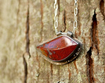 Leaf Peeping -- A Moss Agate Leaf Shaped Pendant Necklace in Oxidized Silver