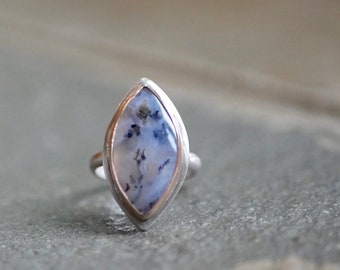 Saisons de la Mer -- A Dendritic Agate Marquis Shaped Ring in Mixed Metals -- Size 6