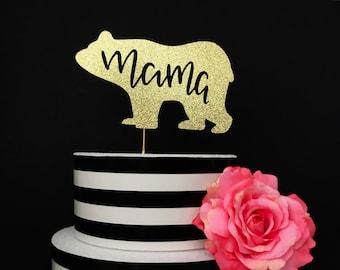Mama bear cake topper- baby shower cake topper- sprinkle cake topper