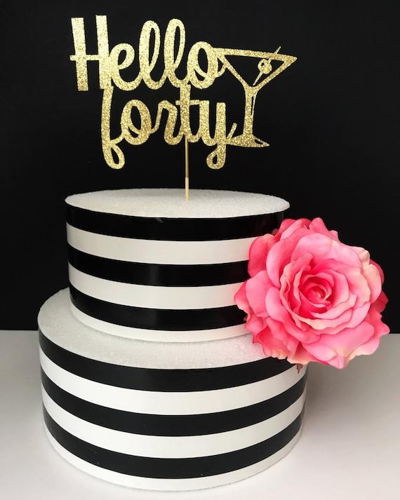 Phenomenal Hello Forty Cake Topper 40Th Birthday Cake Topper Etsy Personalised Birthday Cards Arneslily Jamesorg