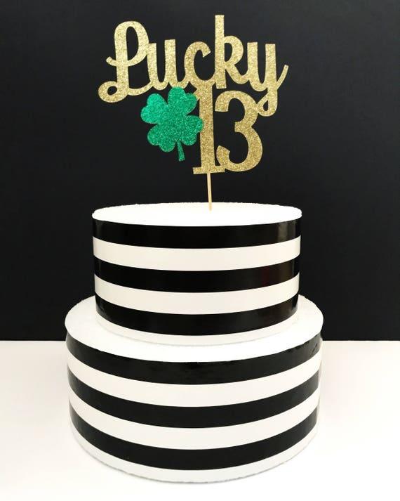 Peachy Lucky 13 Cake Topper 13Th Birthday Etsy Funny Birthday Cards Online Elaedamsfinfo
