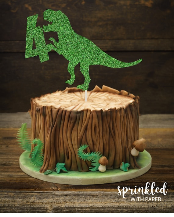 Admirable Dinosaur Cake Topper 4Th Birthday Cake Topper T Rex Cake Etsy Personalised Birthday Cards Paralily Jamesorg