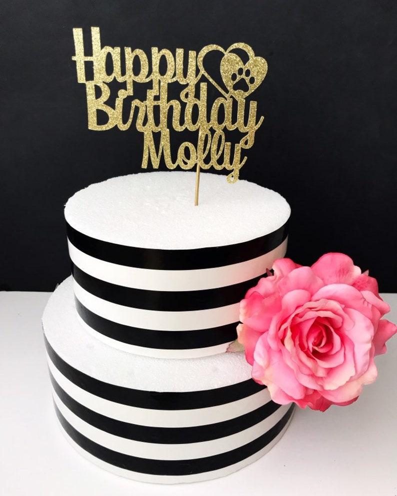 Happy Birthday Cake Topper Any Name Dog