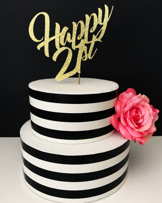 Awesome Happy 21St Birthday Cake Topper Etsy Funny Birthday Cards Online Alyptdamsfinfo