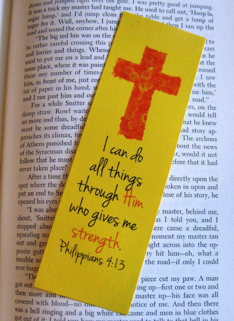 Cross Bookmark Red and Yellow Philipians 4:13  Multiple image 0