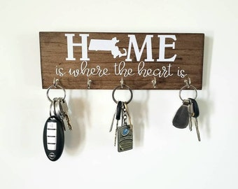 Personalized State Key Rack - Massachusetts Home is Where the Heart Is - Organizer, Key Hook Housewarming Gift New House Wedding Gift