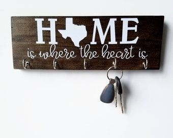 Personalized State Key Rack - Texas Home is Where the Heart Is - Organizer, Key Hook Housewarming Gift New House Wedding Gift