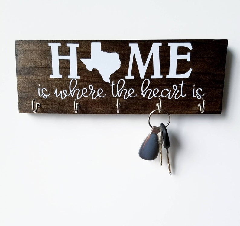 Personalized State Key Rack  Texas Home is Where the Heart Is image 0