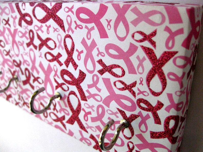Breast Cancer Awareness Jewelry Holder Key Rack Pink Ribbon image 0