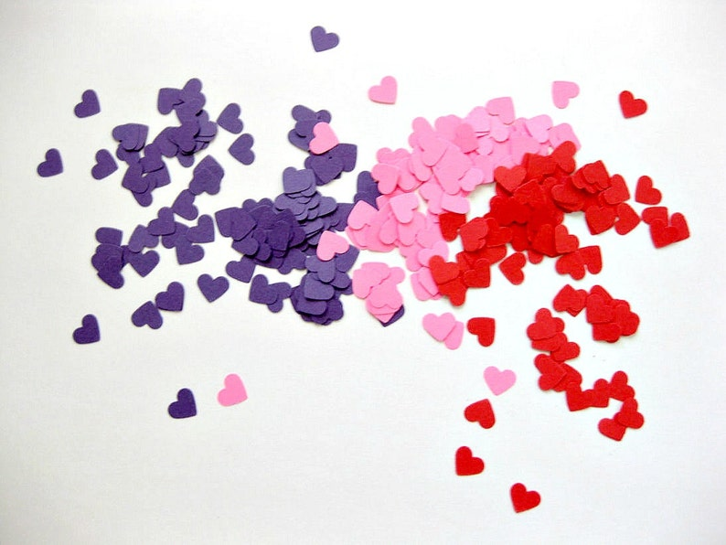 Mini Heart Confetti Valentines Day Confetti Set of 300  image 0
